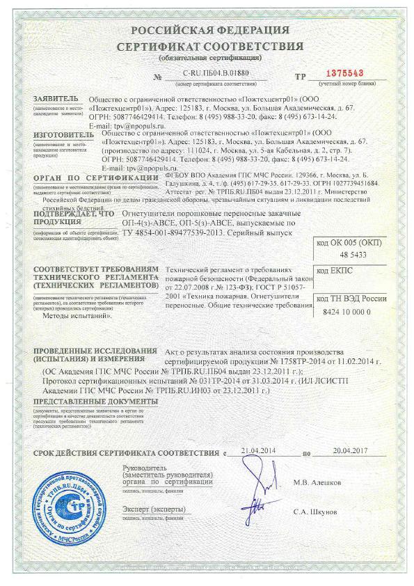 Лицензия на зарядку огнетушителей